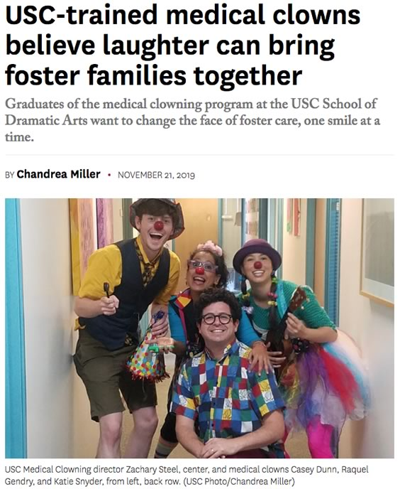 USC-trained medical clowns believe laughter can bring foster families together
